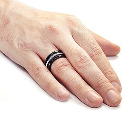 West Coast Jewelry Stainless Steel Cable Inlay Ring