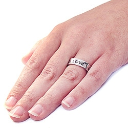 West Coast Jewelry Stainless Steel Square 'Love' Ring