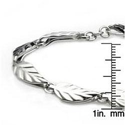 West Coast Jewelry Stainless Steel Polished Leaf Link Bracelet