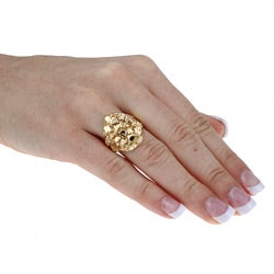 Sterling Essentials 14K Gold over Silver Nugget Ring