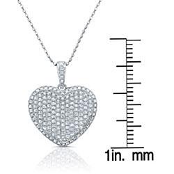 14k White Gold 3/5ct TDW Diamond Heart Necklace (H-I, I1-I2)
