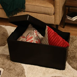 'Kristina' Brown Faux Leather Storage Ottoman