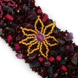 Juliza Amethyst, Glass and Crystal Raspberry Dream Bracelet (Guatemala)