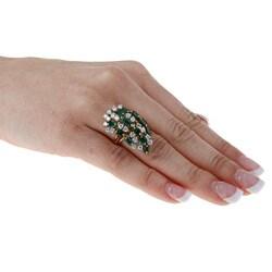14k Gold 1 3/5ct TDW Diamond and Emerald Estate Ring (I-J, SI1-SI2)
