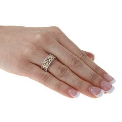 Kabella 10k Gold 1/5ct TDW Diamond Two Tone 'Peace' Ring