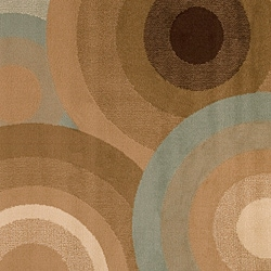 Meticulously Woven Contemporary Brown/Green Free-form Geometric Circles Rug (5'3 x 7'6)
