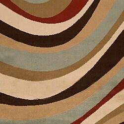 Power-Loomed Free-Form Chocolate Geometric Area Rug (5'3
