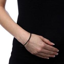 Sterling Essentials Sterling Silver Black Leather Bracelet