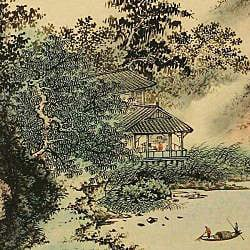 'Lakeside Scenery' Wall Art Scroll Painting (China)