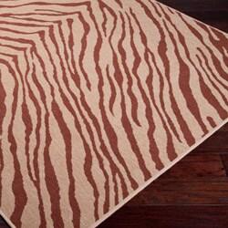 Picnic Brown/Tan Zebra Print Indoor/Outdoor Rug (5'3 x 7'6)