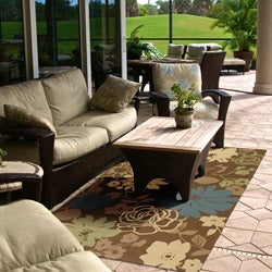 Hand-hooked Bliss Chocolate Indoor/Outdoor Floral Rug (9' x 12')