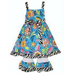 Ann Loren Girl's Tropical Floral Dress and Capri Set