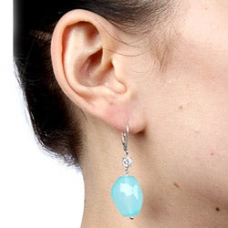 Zoe B Sterling Silver Chalcedony and White Topaz Earrings
