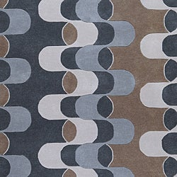 Hand-tufted Contemporary Dazed Grey/Blue Zealand Wool Abstract Rug (3'3 x 5'3)