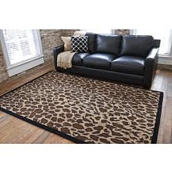 Hand-tufted Brown Leopard Animal Print Safari Wool Rug (2'6