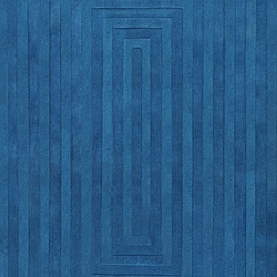 Hand-crafted Blue Geometric Ridges Wool Rug (3'3 x 5'3)
