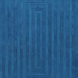 Hand-crafted Blue Geometric Ridges Wool Rug (5' x 8')