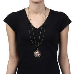 Hermosa Oxidized Goldtone Enamel and Rhinestone Flower Necklace
