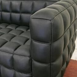 Arriga Black Leather Modern Sofa
