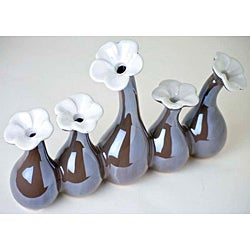 Five-in-One Pearl Brown Porcelain Flower Vase