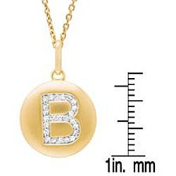 14k Gold Overlay 1/10ct TDW Diamond Initial 'B' Necklace (H-I, I2-I3)