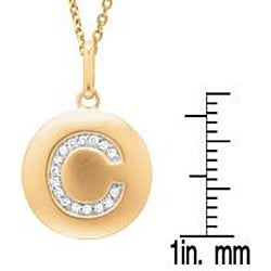 14k Yellow Gold Overlay Diamond Accent Initial 'C' Necklace