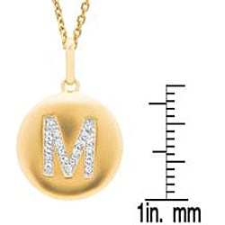 14k Gold Overlay 1/10ct TDW Diamond Initial 'M' Necklace (H-I, I2-I3)
