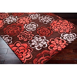 Contemporary Hand-Tufted Candice Olson Divine Red Wool Area Rug (5' x 8')
