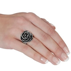 Stainless Steel Rose Design Ring
