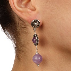 Charming Life Silvertone Decorative Cape Amethyst Post Earrings