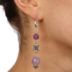 Charming Life Silvertone Cape Amethyst Dangle Earrings