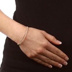 Celeste Goldtone Brass Crystal Bangle Bracelet