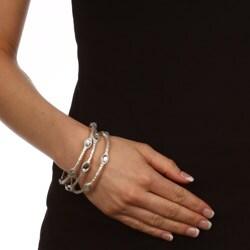 Celeste Silvertone Crystal Bangle Bracelets (Set of 3)