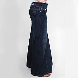 Tabeez Women's Cotton-blend Dark Blue Mermaid Denim Skirt