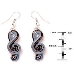 Murano-inspired Glass Blue and Black Music Note Earrings