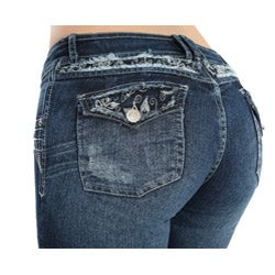 Virtual Sensuality Women's 'Evan' Blue Stretch Push Up Jeans