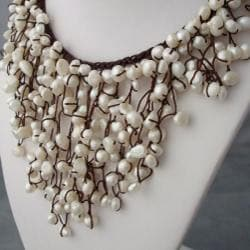 Cotton Natural Pearls Waterfall Bib Necklace (7-12 mm) (Thailand)