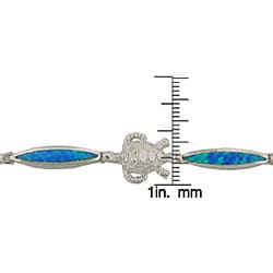 Sterling Silver Created Blue Opal Nautical Theme Bracelet