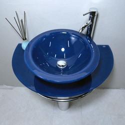 Blue Pedestal Sink : ... Bathroom Vanity Pedestal and Frosted Glass Vessel Sink Combo Set