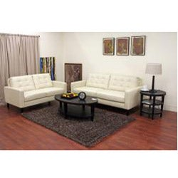 Caledonia Cream Leather Modern Sofa and Loveseat Set