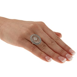 Sterling Silver White Crystal and Marcasite Oval Ring