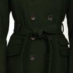 DKNY Women's Loden Size 2 Wool Belted Trench Coat