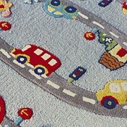 nuLOOM Hand-carved Kids Street Car Multi Wool Rug (5' x 7')