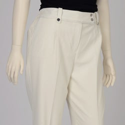 Larry Levine Women's Plus Size Winter White Satin-trim Dress Pants