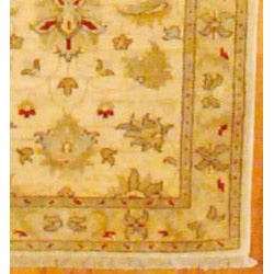 Afghani Hand-knotted Ivory Vegetable Dye Wool Rug (2'7 x 16'1)