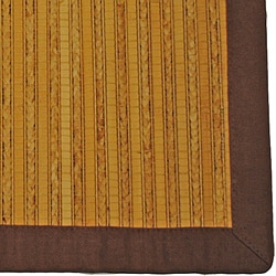 Asian Hand-woven Light Natural Bamboo Rug (2' x 4')