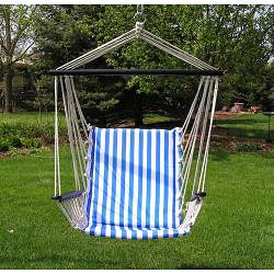 Deluxe Blue and White Hanging Swing Chair