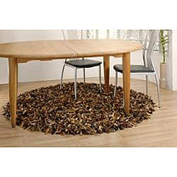 Hand-tied Brown Leather Rug (8' Round)