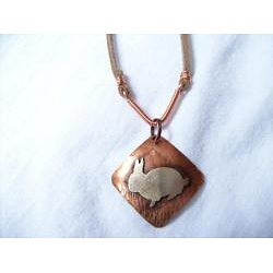 My Three Metals Copper and Suede Bunny Necklace