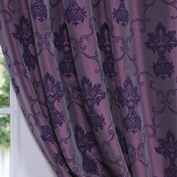 Flocked Fiori Dahlia Faux Silk 84-inch Curtain Panel